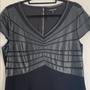 Gianni Bini Faux Black Leather & Stretch Dress 12